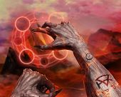 3D illustration of a demon hands spelling. 3d first person demonic hands with claws casting flame spell pentacle on hellish landscape background. poster