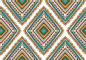 Vector seamless pattern with ethnic tribal ornamental rhombuses . Boho and hippie stylish background. American indian motifs. poster