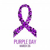 Purple ribbon made of dots on white background. World epilepsy day. Purple Day epilepsy awareness ribbon. Epilepsy solidarity day. Isolated vector illustration. poster