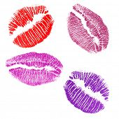 four lips imprints isolated on white background poster