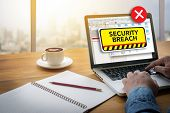 computer Security Breach Cyber Attack Computer Crime Password Security Computing Computer flare sun Cropped image male freelancer sitting at the table poster