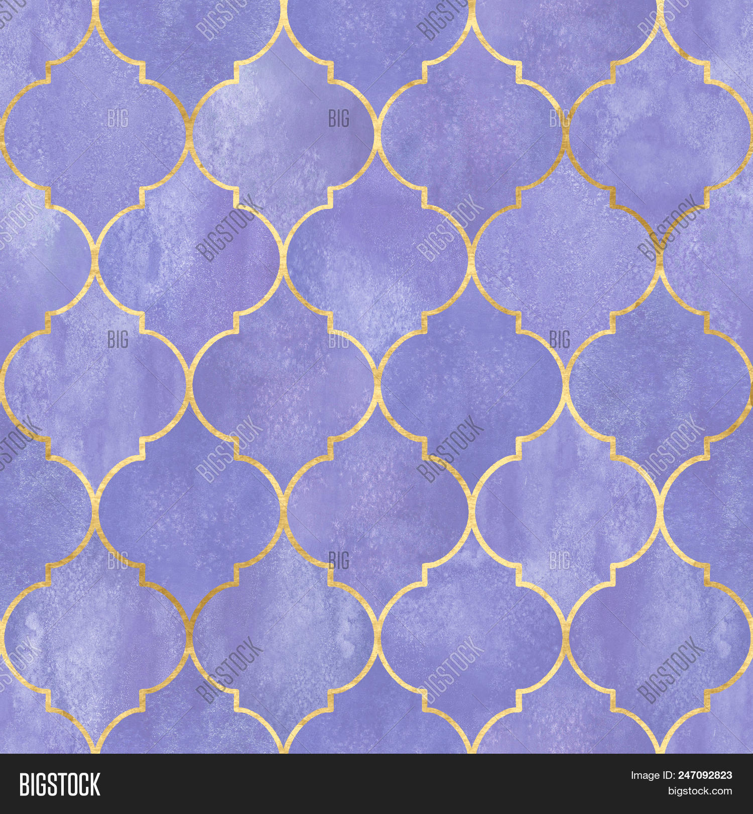 Vintage Decorative Moroccan Seamless Pattern With Gold Line Watercolor Hand Drawn Purple Stained Gl