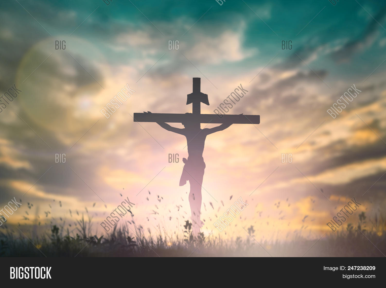 Silhouette Jesus Cross Image Photo Free Trial Bigstock