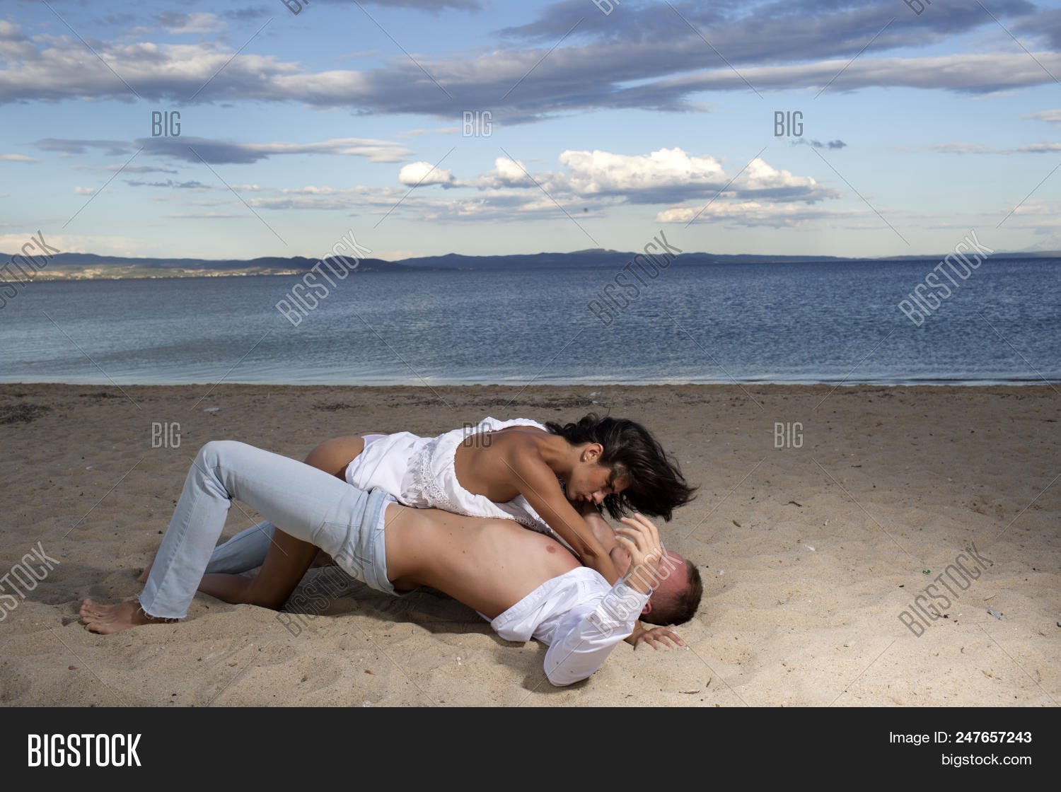 Sex On Beach Concept Couple In Love Have Sex Makes Love On Sand Beach