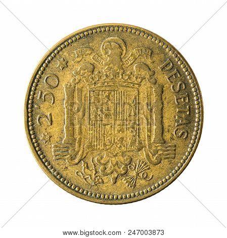 2,5 Spanish Peseta Coin (1953) Obverse Isolated On White Background