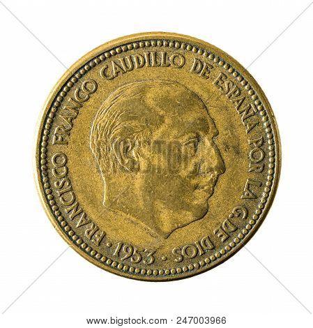 2,5 Spanish Peseta Coin (1953) Reverse Isolated On White Background