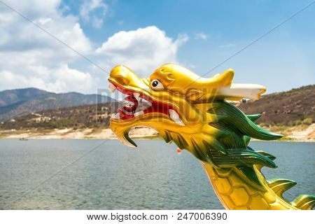 Dragon Head On The Front Part Of A Dragon Boat.