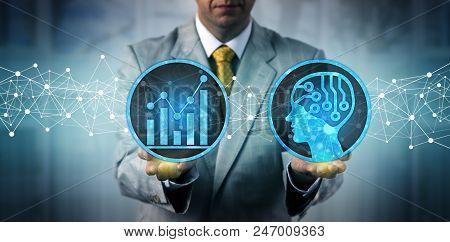 Unrecognizable Businessman Using An Artificial Intelligence Platform For Big Data Analysis. Corporat