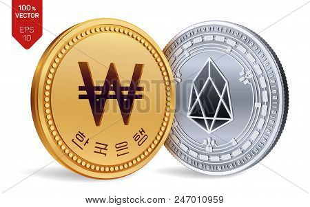 Eos. Won. 3d Isometric Physical Coins. Digital Currency. Korea Won Coin. Cryptocurrency. Golden And