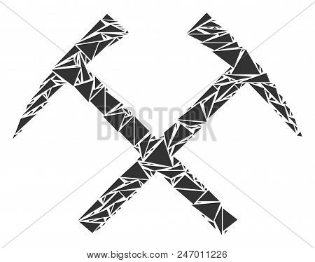 Mining Hammers Collage Of Triangle Items In Various Sizes And Shapes. Vector Triangles Are Organized