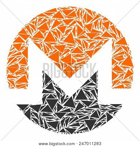 Monero Currency Mosaic Of Triangle Elements In Various Sizes And Shapes. Vector Polygons Are Combine