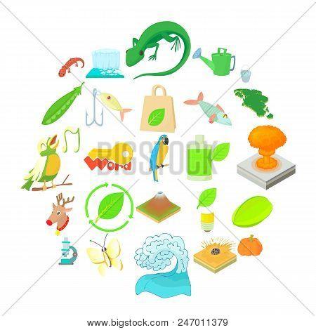 Ecology Icons Set. Cartoon Set Of 25 Ecology Vector Icons For Web Isolated On White Background