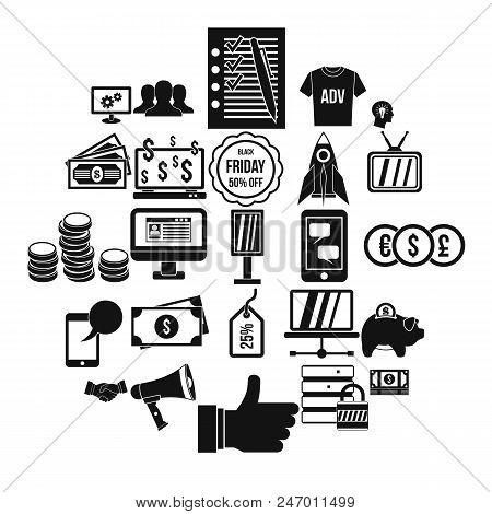 Online Commercial Icons Set. Simple Set Of 25 Online Commercial Vector Icons For Web Isolated On Whi