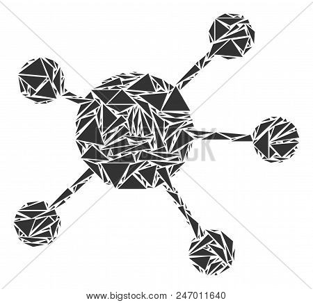 Network Links Mosaic Of Triangle Items In Various Sizes And Shapes. Vector Polygons Are Composed Int
