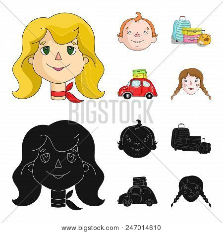 Camping, Woman, Boy, Bag .family Holiday Set Collection Icons In Cartoon, Black Style Vector Symbol