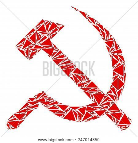 Sickle And Hammer Collage Of Triangle Items In Different Sizes And Shapes. Vector Triangles Are Unit