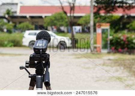 Measuring The Noise On The Road With A Sound Level Meter. Sound Level Meters Are Commonly Used In No