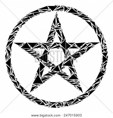 Star Pentacle Mosaic Of Triangle Items In Different Sizes And Shapes. Vector Polygons Are Composed I