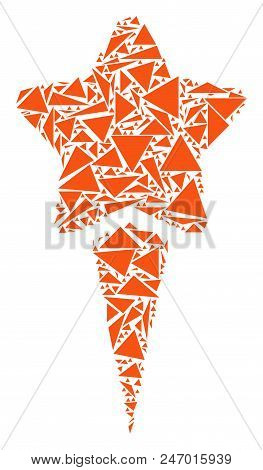 Starting Star Collage Of Triangle Elements In Variable Sizes And Shapes. Vector Triangles Are Arrang