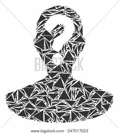 Unknown Person Mosaic Of Triangle Items In Various Sizes And Shapes. Vector Polygons Are United Into