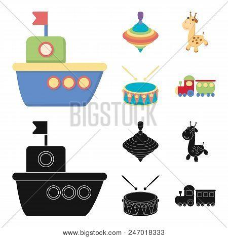 Ship, Yule, Giraffe, Drum.toys Set Collection Icons In Cartoon, Black Style Vector Symbol Stock Illu