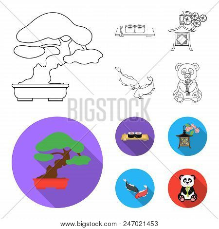 Sushi, Koi Fish, Japanese Lantern, Panda.japan Set Collection Icons In Outline, Flat Style Vector Sy