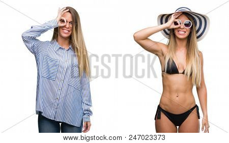 Young beautiful blonde woman wearing business and bikini outfits doing ok gesture with hand smiling, eye looking through fingers with happy face.