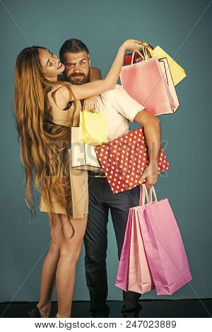 Family Shopping. Shopping And Sale, Happy Couple In Love Of Woman With Long Hair And Bearded Man Hol