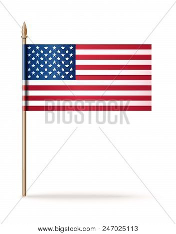 Usa Flag Icon. American Flag. United State Of America Flag. National Flag Of Usa On A Golden Flagpol
