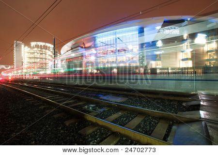light rail train light running by time warner arena