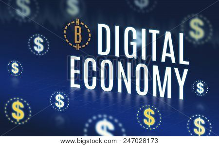 Digital Economy With Dollar Icon Floating On Navy Blue Tech Background,digital Economy Technology.