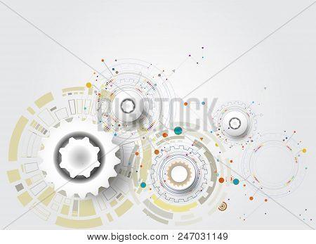 Vector Illustration Tech Digital Innovation Design Colorful On Circuit Board And Gear Wheel Engineer