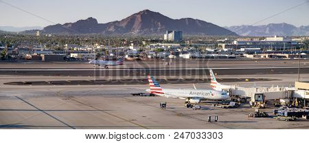 Phoenix,Az/USA - 6.26.18:  Sky harbor Airport;  A maintenance issue caused an American Airlines flight #AA692, headed for Honolulu, to return to Phoenix Sky Harbor airport.