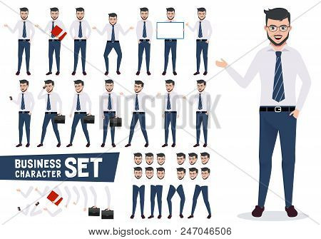 Business Character Vector Set With Male Businessman In Different Presentation Pose And Gestures Wear