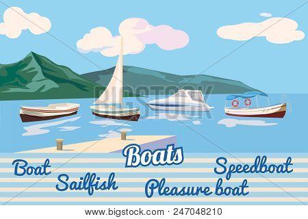 Boat, Sail Boat, Pleasure Boat, Speed Boat Seascape Vector Illustration