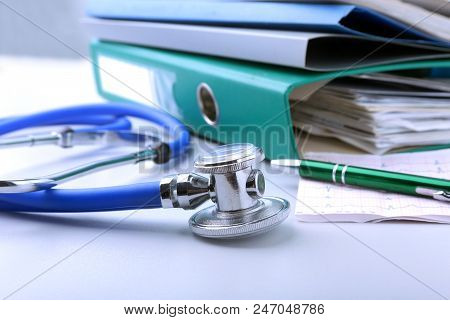 Books Folder File, Stethoscope, Red Heart And Rx Prescription Isolated On White Background