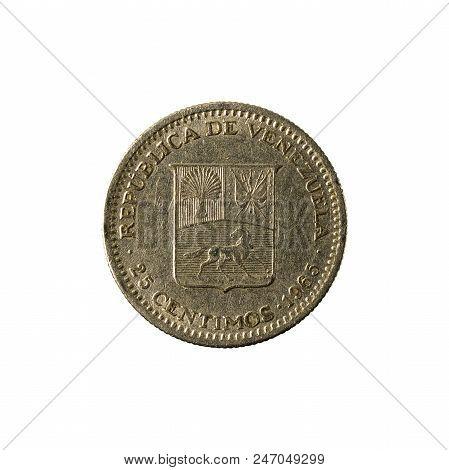 25 Venezuelan Centimos Coin (1965) Obverse Isolated On White Background