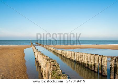 Breakwater Made Of A Double Row Of Wooden Poles At The North Sea Beach Of The Dutch Former Island Wa