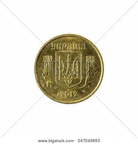 10 Ukrainian Kopiyka Coin (2012) Reverse Isolated On White Background