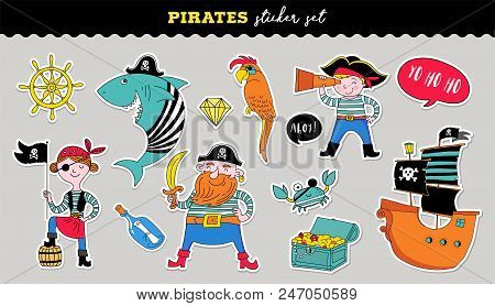 Pirate Collection Of Hand Drawn Vector Stickers, Birthday Concept Party