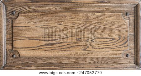Wooden Texture Plate With A Frame. Place For Text