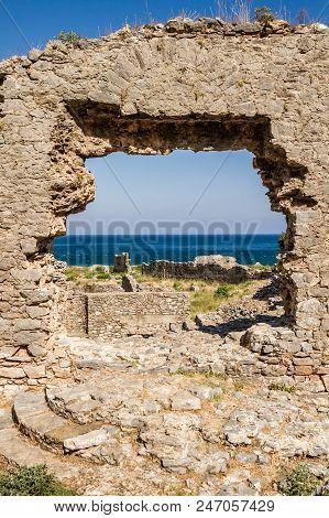 Amphitheater In Ancient Roman City Anemurium In Anamur, Turkey