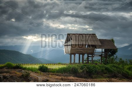Beautiful view of the cottage in Bong Piang forest with sun beam in cloudy day in Chiang Mai, Thailand. poster