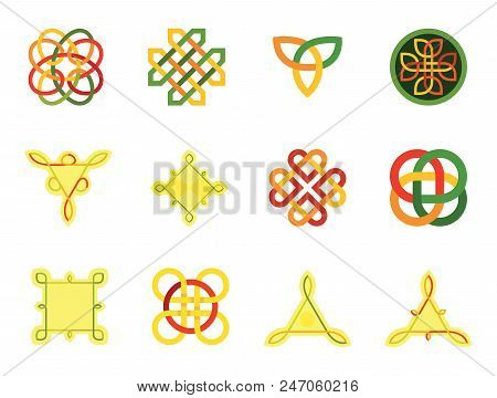 Celtic Ornament Icon Set. Infinite Knot Endless Knot Eternal Knot Buddhist Symbol Decorative Element Ornament Celtic Element Celtic Symbol Triqueta Celtic Shield poster