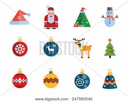 Christmas Icon Set. Decorated Tree Santa Claus Snowman Santa Hat Reindeer Christmas Ball Fir Tree Ba