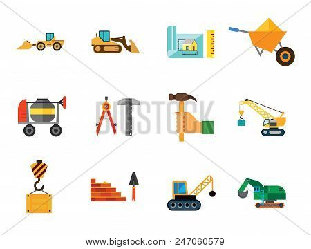 Construction Site Icon Set. House Scheme Bricklaying And Trowel Bulldozer Skid Loader Excavator House Scheme And Ruler Wheelbarrow Crane Hook Crane With Wrecking Ball Crane Hand With Hummer Compasses poster