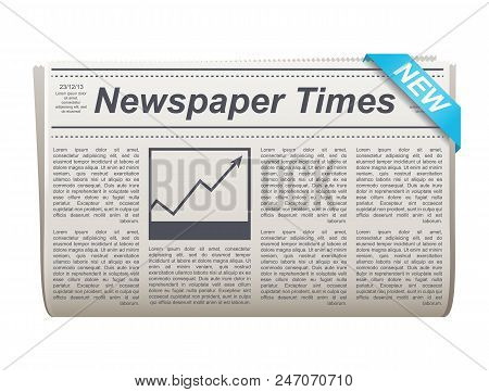 Folded Newspaper Vector Icon With Type And Picture Mockup And Various Headings News, The News, Busin