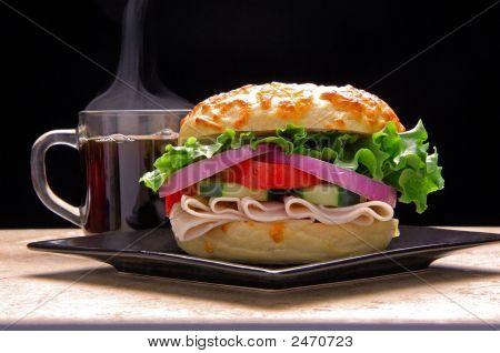 Bagel Turkey Sandwich Coffee