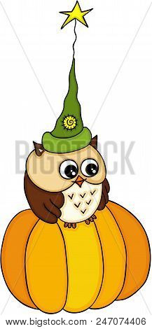 Scalable Vectorial Image Representing A Halloween Owl With Witch Hat On Pumpkin, Isolated On White.