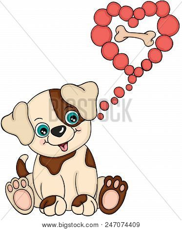 Scalable Vectorial Representing A Little Dog Thinking About Bone, Element For Design, Illustration I